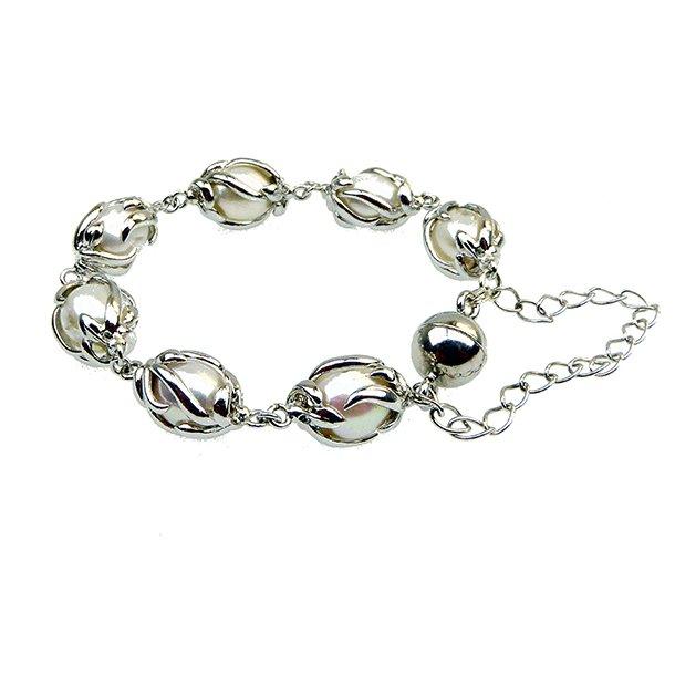 Perlearmbånd med Magnetlås & halskæde -Hvide Ferskvandsperler-Rhodineret/925