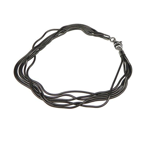 Armbånd & halskæde - 6 rk.Slange/Sort Rhodineret