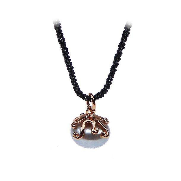 Perlevedhæng med kæde - Sølvgrå Perle/Rosé/Oxyderet