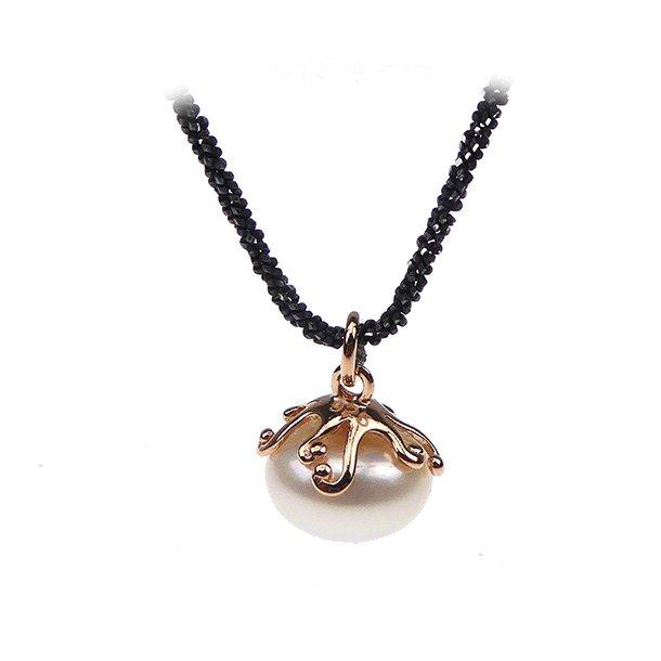 Perlevedhæng med kæde - Hvid Perle/Rosé/Oxyderet