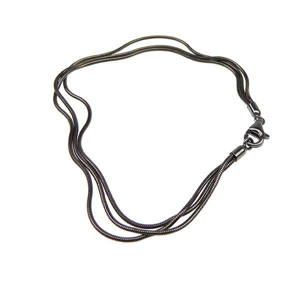 Armbånd & halskæde - 3 rk. Slange/Sort Rhodineret