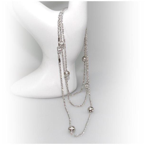 Halskæde - Lang kæde 70-120cm m.6 stk Magic Beads-Ø6mm