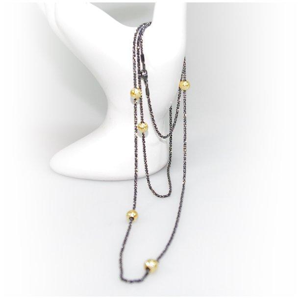 Halskæde - Lang kæde 70-120cm m. 6 stk Magic Beads-Ø6mm