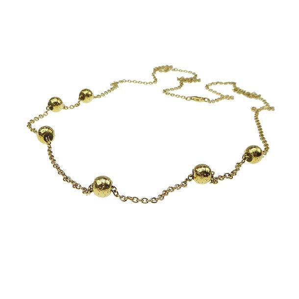 Halskæde 70-120cm - Forgyldt m.6 stk Magic Beads-Ø8mm
