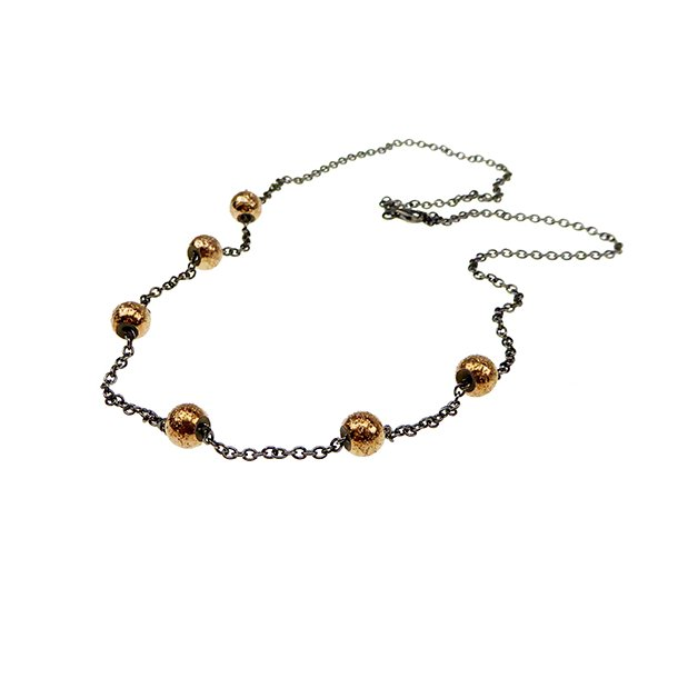 Halskæde 70-120cm - Sort Rhodium & Rose Forgyldt m.6 stk Magic Beads-Ø8mm