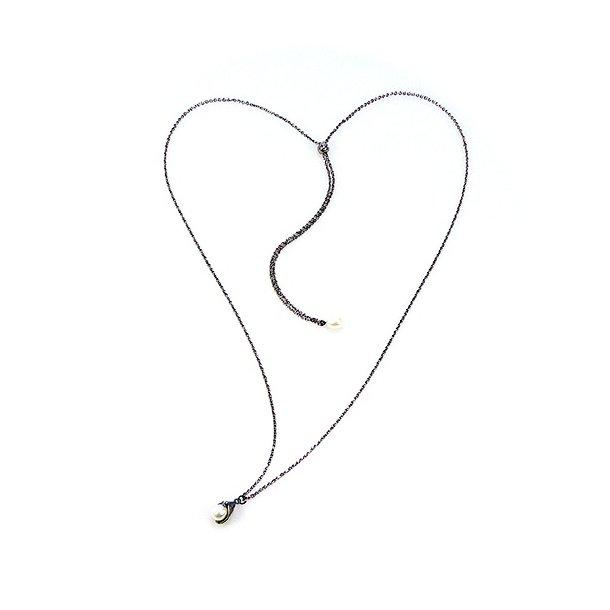 Halskæde - Længde justeres trinløs.Sort Rhodineret/Hvid Ferskvandsperle