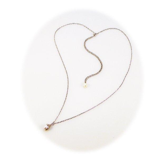 Halskæde - Længde justeres trinløs.Rhodineret/Hvid Fersvandsperle