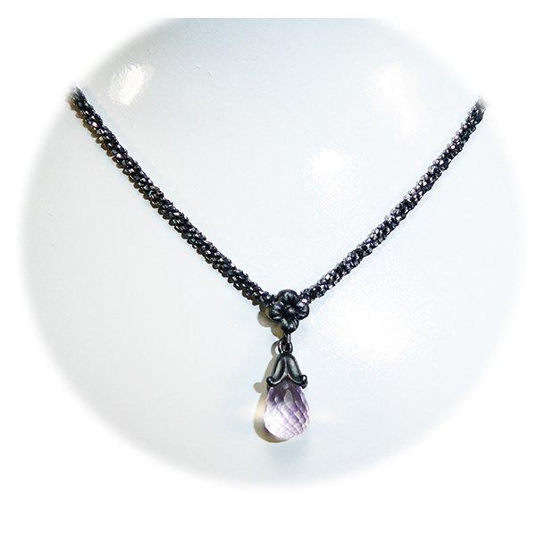 Halskæde - Oxidised/925 & DiamondCut m.Pink Ametyst