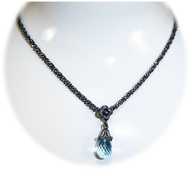 Halskæde - Oxidised/925 & DiamondCut m.Blå Topas