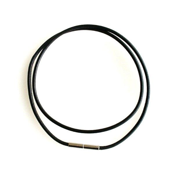 2mm sort/glat læderkæde m.bajonetlås - Nr.LB2