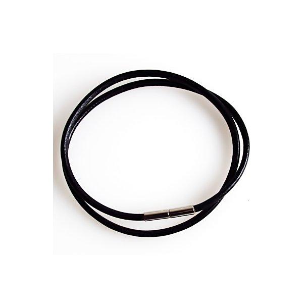 Læderkæde - 3mm sort/glat læderkæde m.bajonetlås