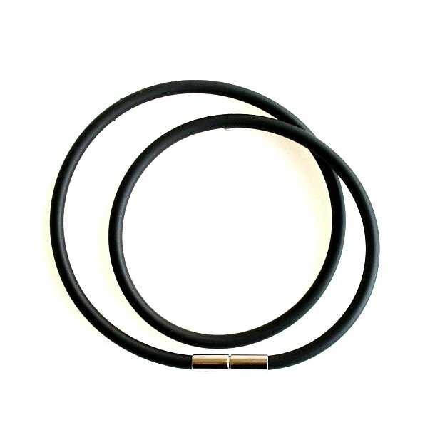 Gummikæde - 4mm Gummi/sort m. Bajonetlås
